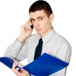 The young man speaks to phone — Stock Photo #1447106