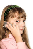 The girl with cellular phone — Stock Photo