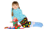 The girl with meccano — Stock Photo