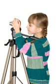 The girl with the camera — Stock Photo