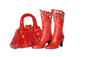 Red handbag and boots — Stock Photo