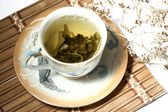 Green tea in a cup — Stock Photo