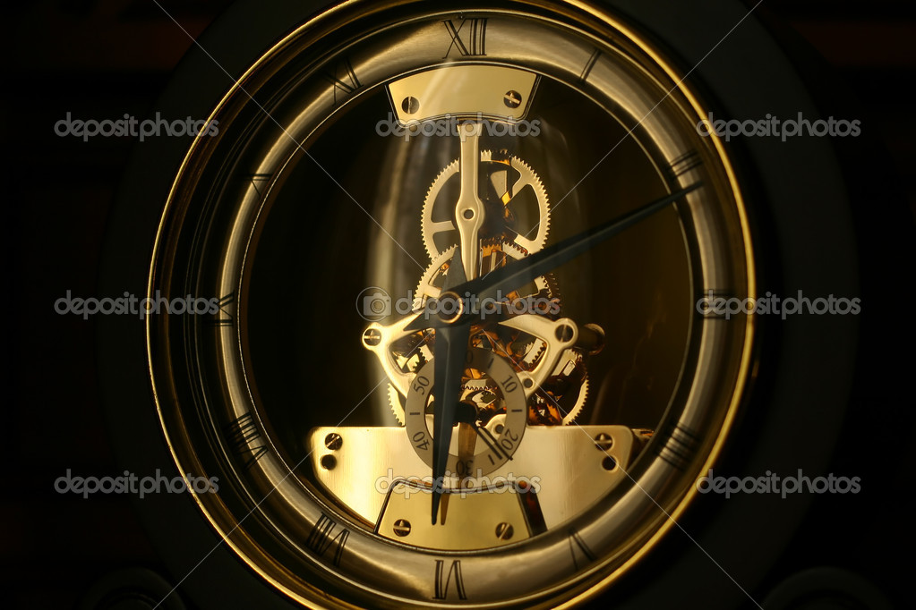 Clock works on black background — Stock Photo #1442541