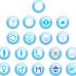 Stock Photo: 3d blue set of icons for web