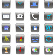Stock Photo: 3d black & blue set of icons
