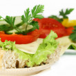 Sandwich and salad with vegetables — Stock Photo