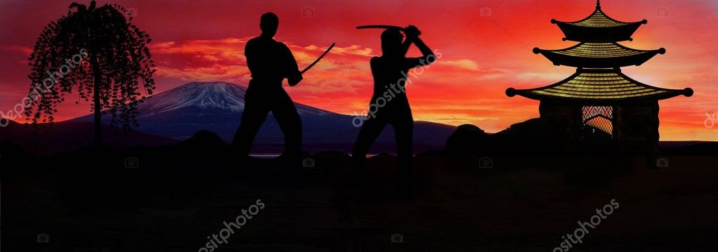 Two samurai, duel at sunset, japan — Stock Photo #1463138
