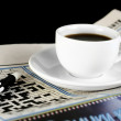 Cup of coffee on the newspaper — Stock Photo