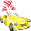 Car with hearts cartoon — 图库矢量图片