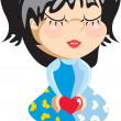 Stock Vector: Girl with heart