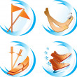 Royalty-Free Stock Imagen vectorial: Four winter sport icons