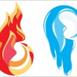 Fire and ice symbols — Stock Vector