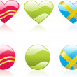 Hearts icons — Vector de stock
