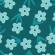 图库矢量图片: Retro Blue floral seamless pattern