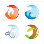 Acqua, aria, fuoco, terra — Vettoriale Stock