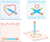 Draw love symbols on notes pages — Stock Vector