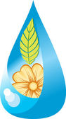 Floral elegance water drop — Vector de stock