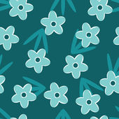 Retro Blue floral seamless pattern — ストックベクタ