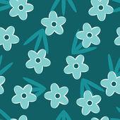 复古蓝色花无缝图案 — 图库矢量图片