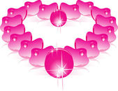 Heart from rose petals — Stock Vector