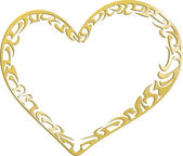 Corazón de metal oro — Vector de stock