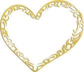 Gouden metalen hart — Stockvector