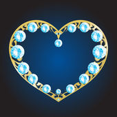 Gold metal heart with diamonds — 图库矢量图片