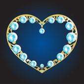 Gold metal heart with diamonds — Stock Vector