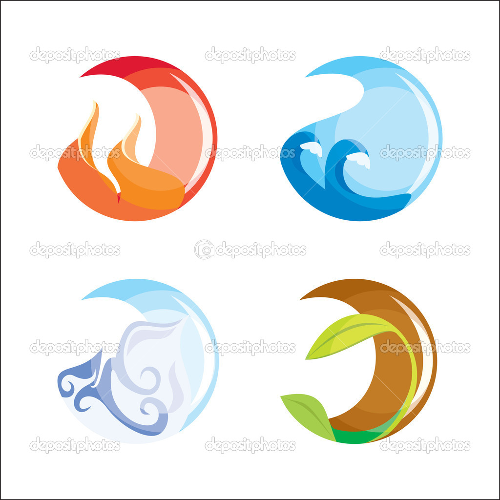 Four elements (vector). Fire, water, air, ground — Stock Vector #1434702