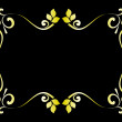 Floral gold frame on black background — Stok Vektör
