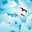 Sky and birds background — Imagen vectorial