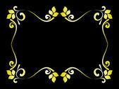 Floral gold frame on black background — ストックベクタ