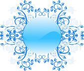 Design floral frame button — Stock Vector
