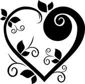 çiçek kalp dövme — Stok Vektör