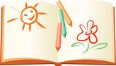 Yaz geri kalan çocuk kitabı — Stok Vektör