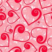 Patrón transparente corazón floral — Vector de stock