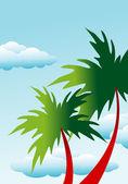 Fondo floral palma — Vector de stock