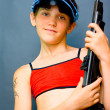 Teen Girl and gun — Stock fotografie