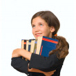 Student Girl with books isolated on white — Stock Photo