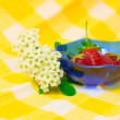 Flower and strowberry — Stock Photo