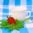 Strawberry and cup on fabric background — Stockfoto