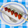Strawberry barbecue on plate — Foto Stock