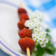 Strawberry barbecue on plate — Stock Photo