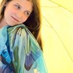 Portrait Girl on umbrella background — Stock Photo