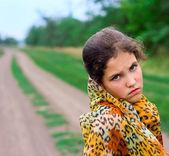 Portrait girl on nature — Stock Photo