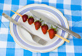 Strawberry barbecue on plate — Stok fotoğraf