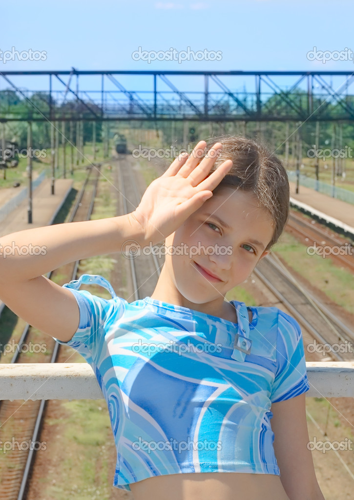 Beauty girl on train rails landscape background — Stock Photo #2309269