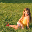 Beauty teen girl on grass - Foto de Stock