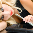Addict girl with money — Stockfoto