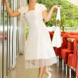 Beauty bride on cafe — Stockfoto